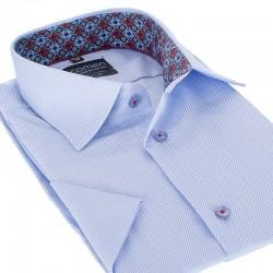 Błękitna koszula Comen slim krótki rękaw 39 40 41 42 43 44 45 46