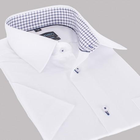Biała koszula Comen slim krótki rękaw z wykończeniem w kratkę