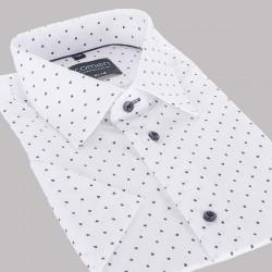 Biała koszula Comen kr. rękaw slim ze wzorem 39 40 41 42 43 44 45 46