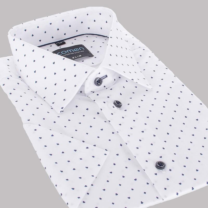 Biała koszula Comen krótki rękaw slim ze wzorem w karty