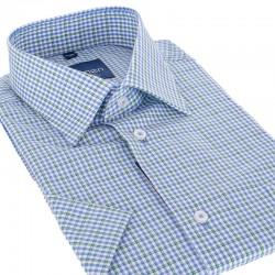 Niebiesko-zielona koszula Comen kr. rękaw w kratkę 39 40 41 42 43 44