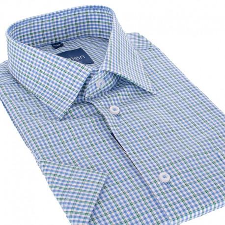 Niebiesko-zielona koszula slim Comen krótki rękaw