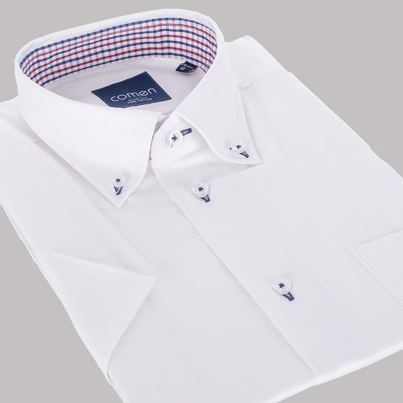 Biała koszula Comen krótki rękaw slim - 100 bawełna