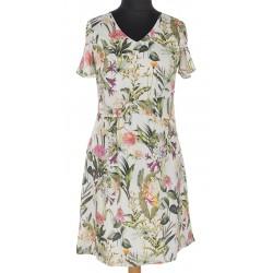 Sukienka Modena Styl Eris różowa w kolorowe kwiaty rozmiar 38 40 42 44