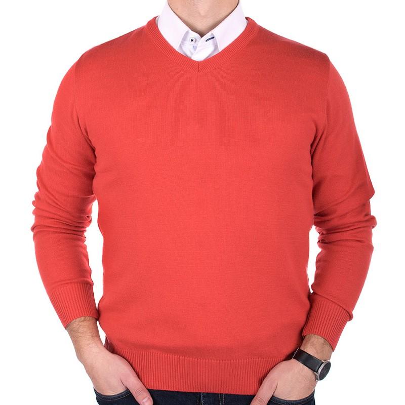 sweter Adriano Guinari v-neck łososiowy