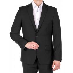 Czarny garnitur promocyjny Lord wełniany - jedna szlica