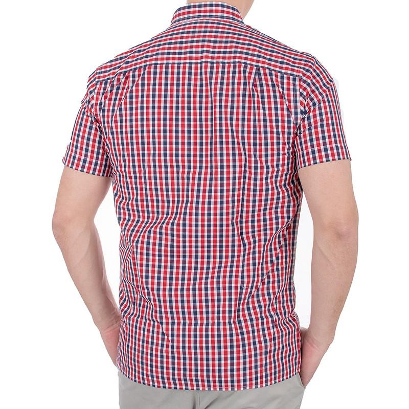 Koszula Pako KMP 5 Roger z krótkim rękawem - granatowo-czerwona kratka