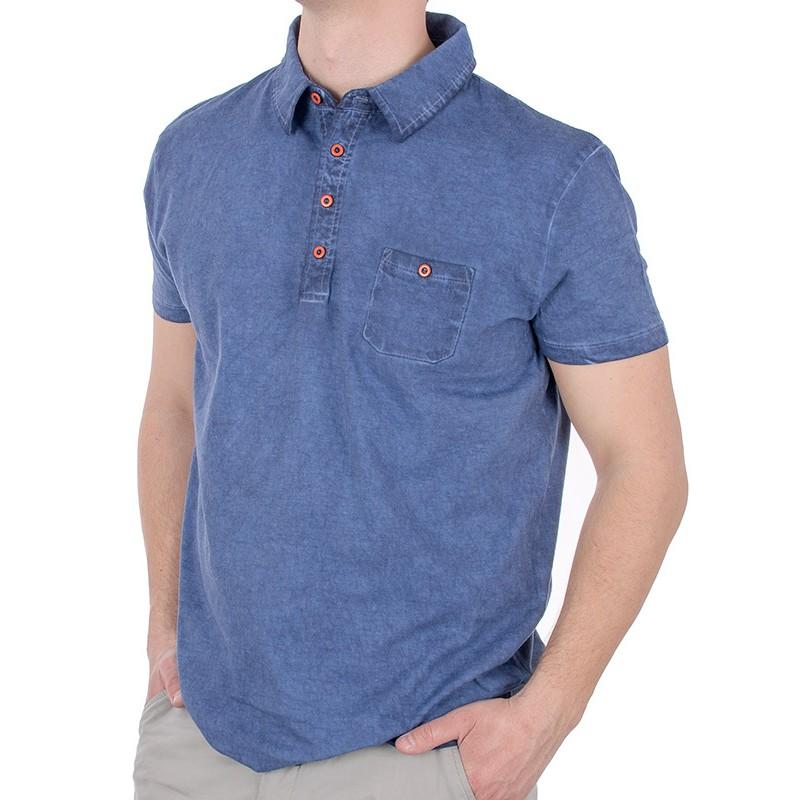 Niebiesko-jeansowa koszulka polo Kings 750*988 - krótki rękaw