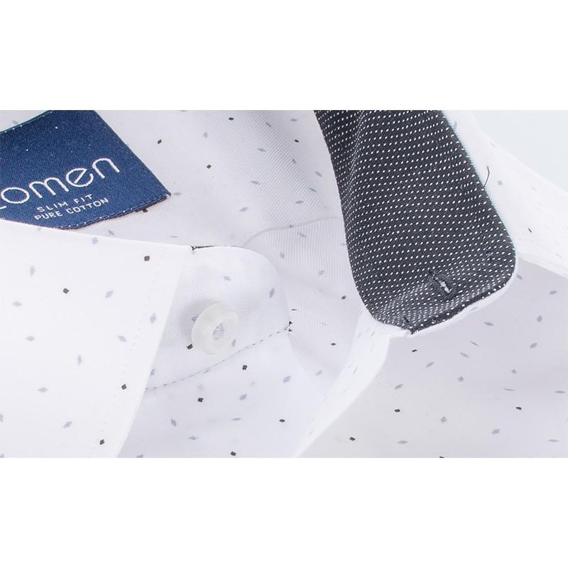 Biała koszula Comen slim ze wzorem 100% bawełna