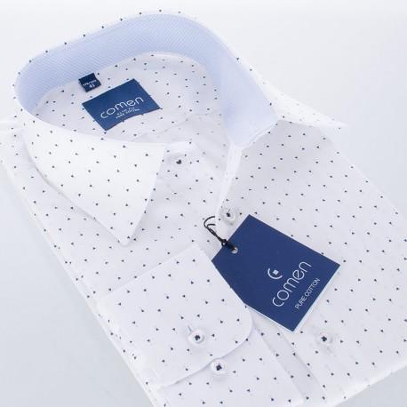 Biała koszula Comen z dł. rękawem slim z drobnym wzorem 100% bawełna