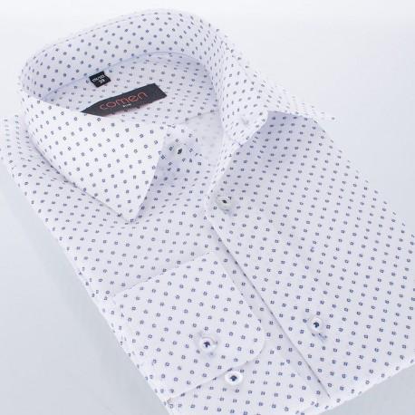 Koszula ze wzorem Comen dł. rękaw slim - biała