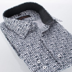 Biało-czarna koszula Comen długi rękaw w kwadraty 39 40 41 42 43 44 45