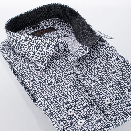 Biało-czarna koszula Comen slim w nieregularne kwadraty - długi rękaw