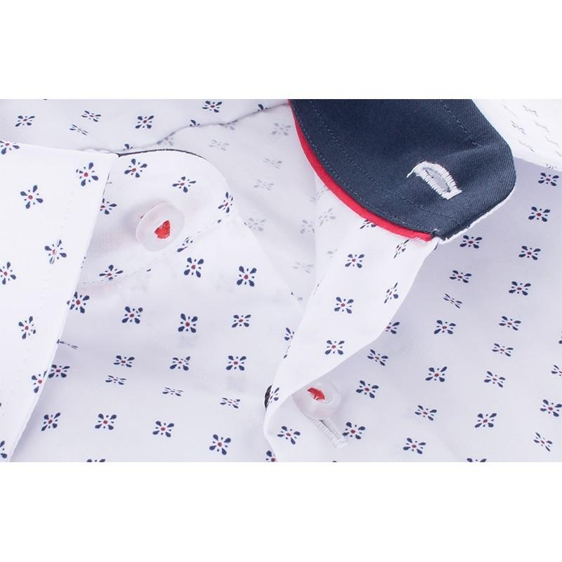 Biała koszula ze wzorkiem Comen długi rękaw - slim