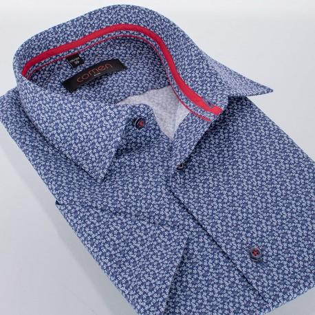 Granatowa koszula Comen krótki rękaw - slim - motyw w kwiaty