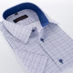 Koszula Comen kr. rękaw biała w niebieską siatkę 39 40 41 42 43 44 46