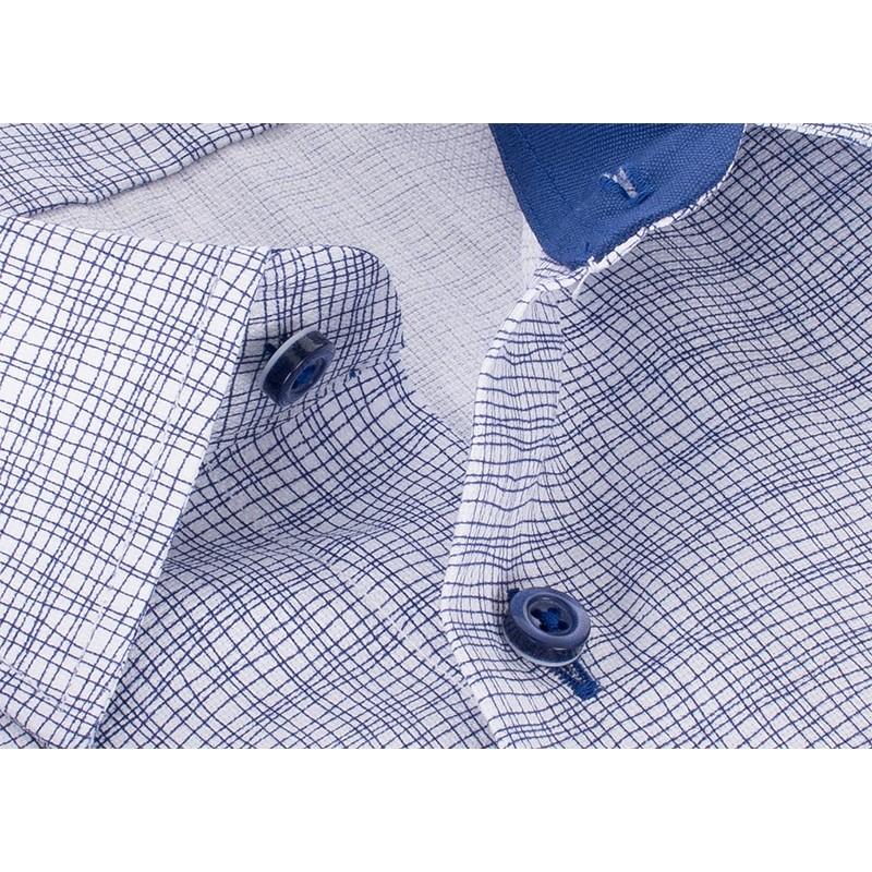 Koszula Comen krótki rękaw slim - biało-niebieska siatka