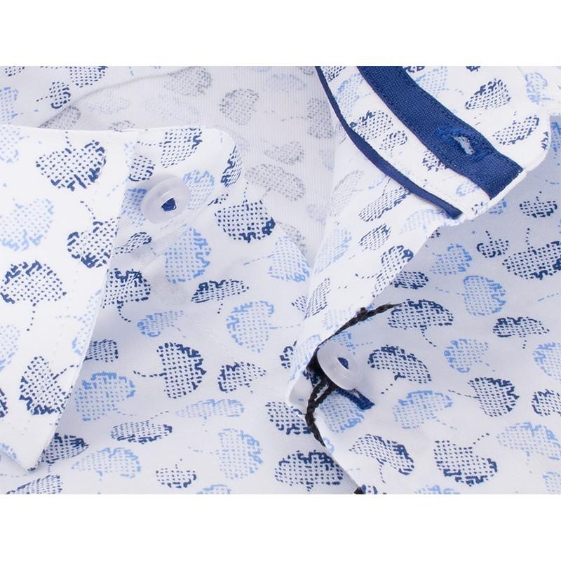 Biała koszula Comen slim z kr. rękawem - wzór liści