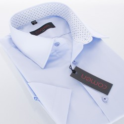 Błękitna koszula Comen krótki rękaw slim roz. 39 40 41 42 43 44 45 46