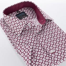 Bordowa koszula ze wzorem Comen slim krótki rękaw 39 40 41 42 43 44 45
