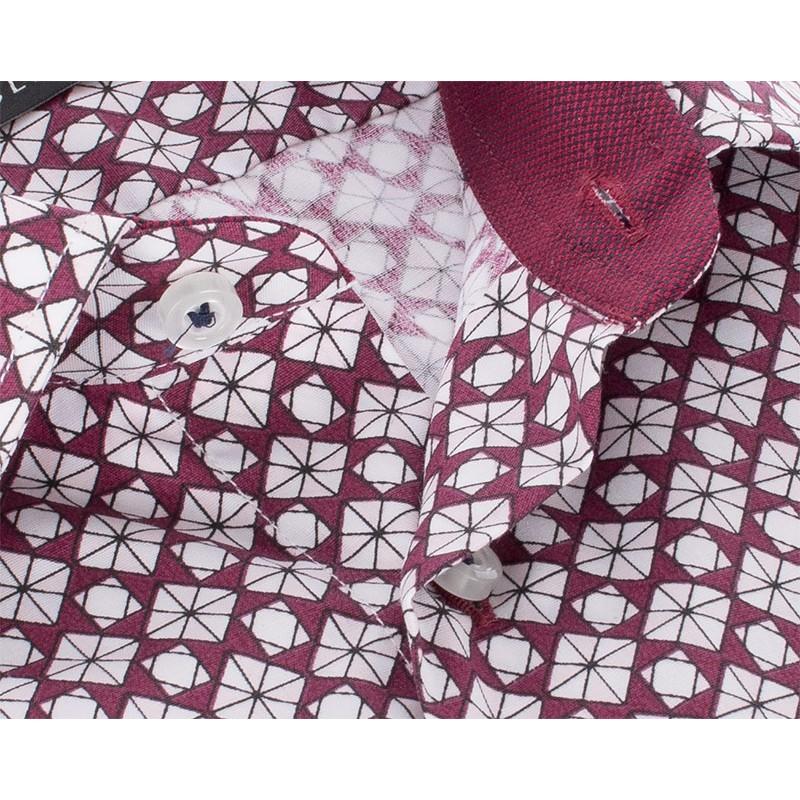 Bordowa koszula Comen ze wzorkiem z krótkim rękawem slim