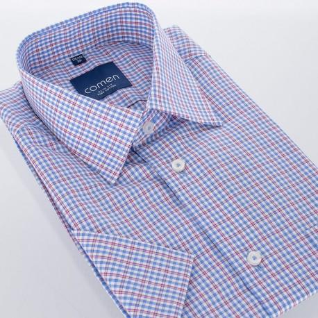 Koszula w kratkę Comen slim krótki rękaw - bawełniana