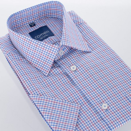 b1d095df3c82ff Niebieska koszula w kratkę Comen slim kr. rękaw 39 40 41 42 43 44 46