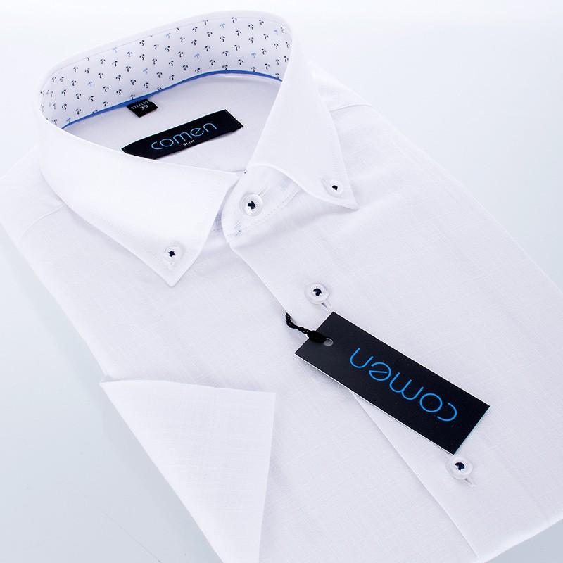Biała koszula Comen Lenny z krótkim rękawem slim - kołnierz przypinany