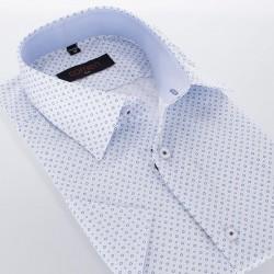 Biało-niebieska koszula Comen Dots kr. rękaw 39 40 41 42 43 44 46 48
