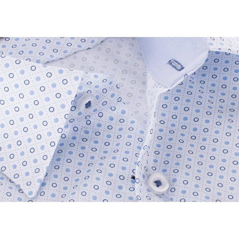 Niebieska koszula ze wzorem Comen slim krótki rękaw