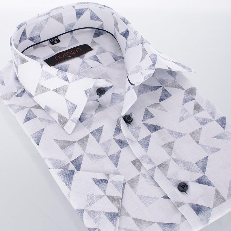 Kolorowa koszula Comen slim krótki rękaw - wzorzysta