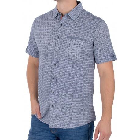 Szaro-niebieska koszula krótki rękaw PakoJeans KMKR 2 Bolsa