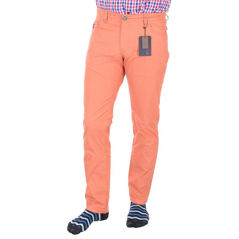 Ceglano-pomarańczowe spodnie Lord R-160 bawełna