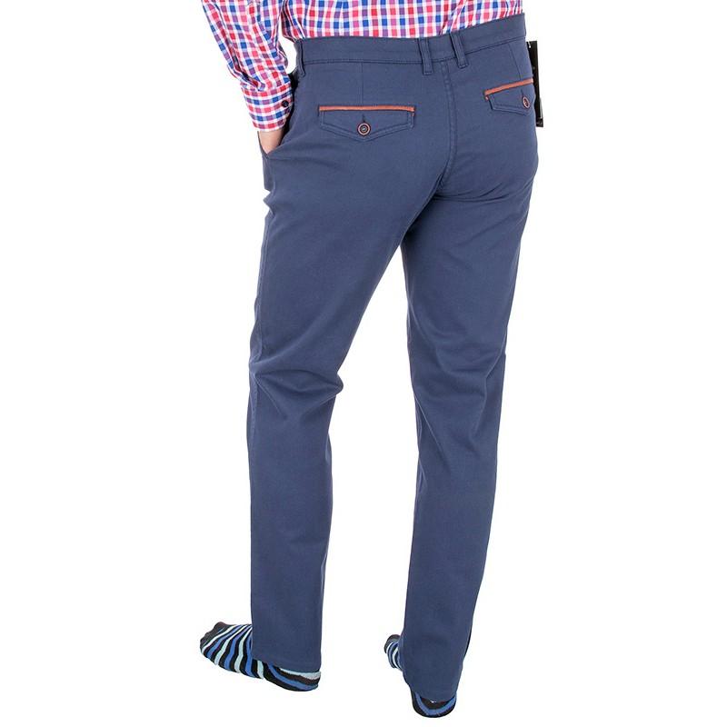 Niebieskie spodnie chinos Lord R-64 bawełna