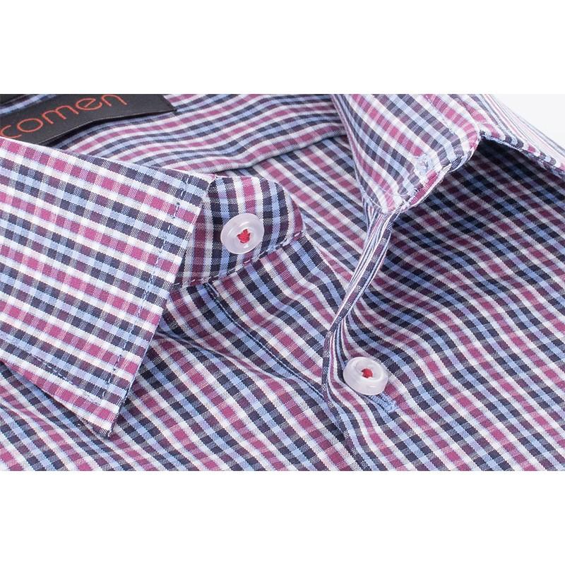 Fioletowa koszula Comen w kratkę z krótkim rękawem regular