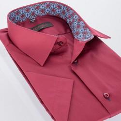 Koszula męska Comen slim krótki rękaw bordowa 39 40 41 42 43 44 45 46