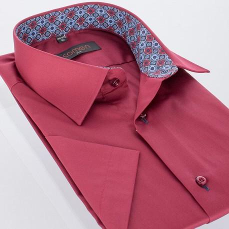 Bordowa koszula z krótkim rękawem Comen