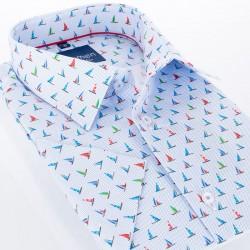 Koszula Comen krótki rękaw błękitna w żaglówki 39 40 41 42 43 44 45 46