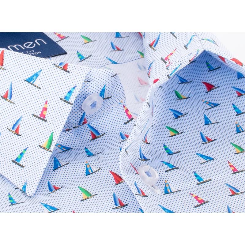Niebieska koszula Comen w żaglówki- slim krótki rękaw