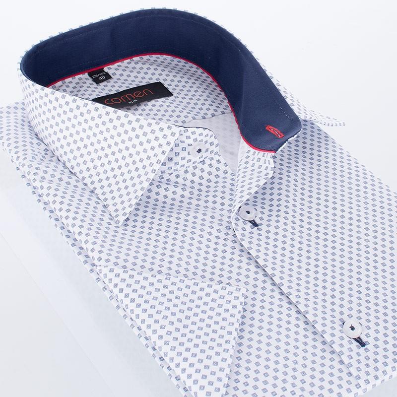 Biała koszula z kr. rękawem Comen - drobny wzór w kwadraty i kropki