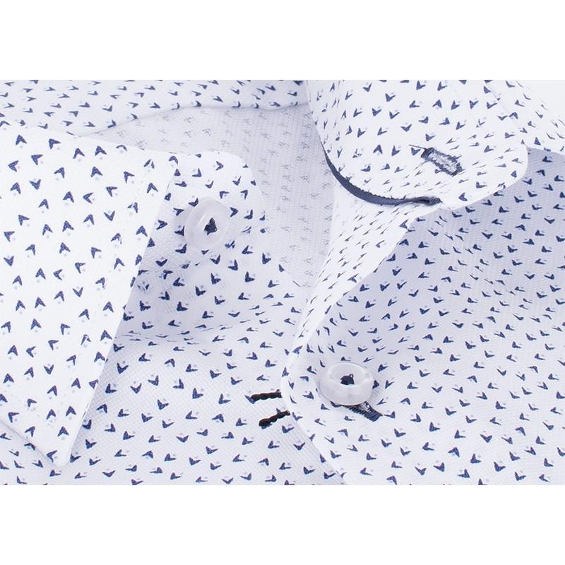 Taliowana biała koszula z krótkim rękawem Comen - bumerangi