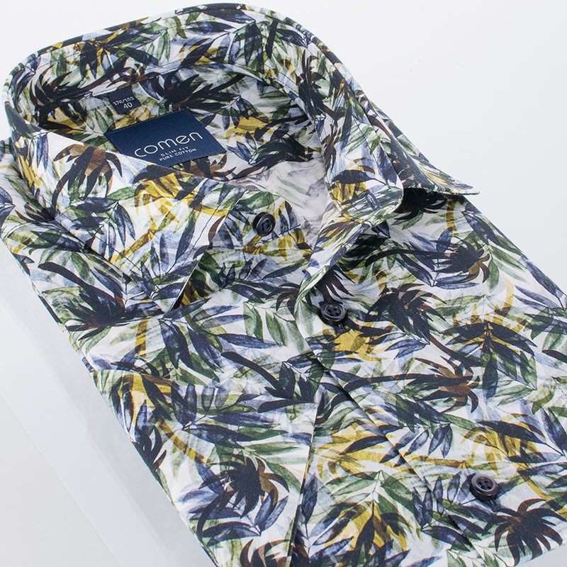 Wakacyjna koszula Comen z krótkim rękawem w liście palmy