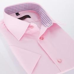 Różowa koszula bawełniana Comen krótki rękaw 39 40 41 42 43 44 45 46