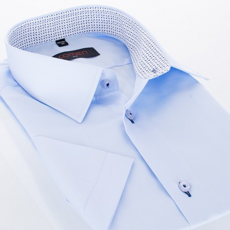 Błękitna koszula bawełniana Comen z krótkim rękawem