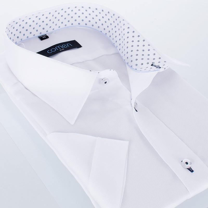 Biała bawełniana koszula Comen z krótkim rękawem