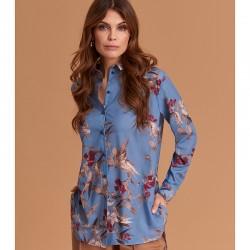 koszula Feria FE43-5-15 niebieska w kwiaty rozmiar 38 40 42 44 46