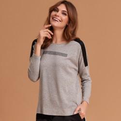 sweterek Feria FE53-5-10 melanż popielaty rozmiar 38 40 42 44 46 48