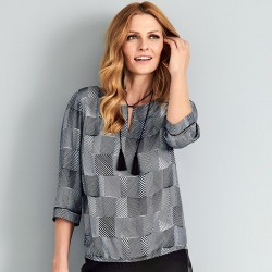 bluzka Sunwear A08-4-15 w czarne kreseczki rozmiar 38 40 42 44 46 48