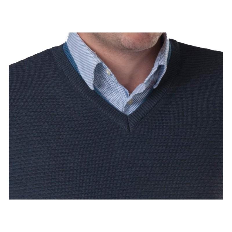 Sweter w serek Lasota Hermes navy