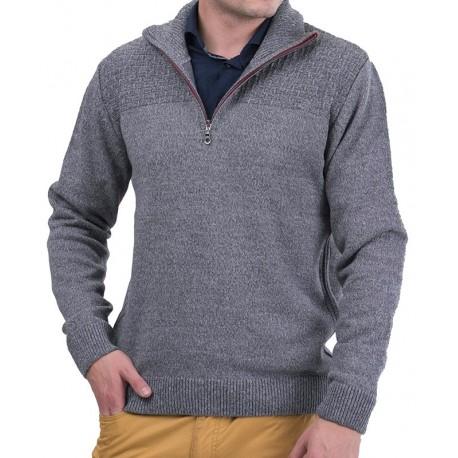 Szaro-popielaty sweter golf Lasota Harry polo z krótkim zamkiem